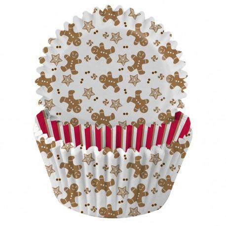"""75 caissettes à cupcakes standard """"Bonhomme pain d'épices"""""""