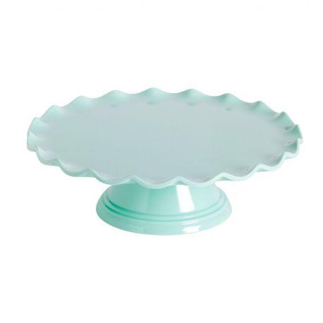 Présentoir à gâteaux ondulé vert pastel - 27.5 cm