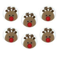 """6 décors en sucre """"Les rennes du Père Noël"""""""