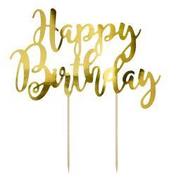 """Topper pour gâteau """"Happy Birthday"""" - Doré"""
