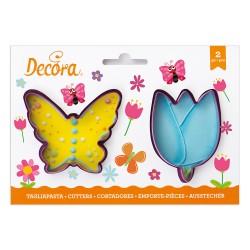 """2 emporte-pièces """"Papillon et tulipe"""""""