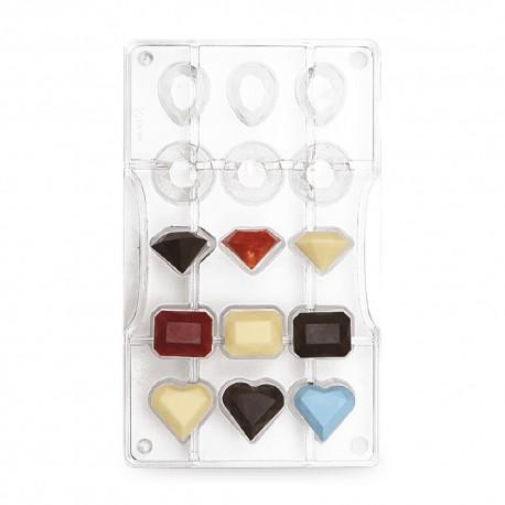 """Moule à chocolats """"gemmes"""" 15 cavités"""