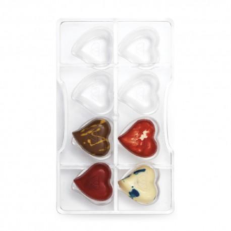 """Moule à chocolats """"cœurs"""" 8 cavités"""