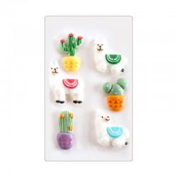 """6 décors en sucre """"Lamas et cactus"""""""