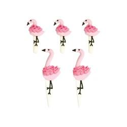 """5 décors en sucre """"flamants roses"""""""