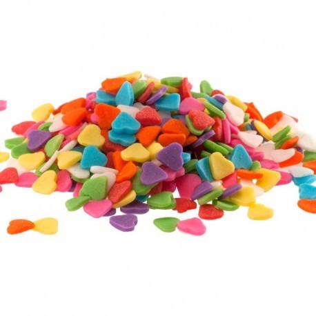 """Décors en sucre """"coeurs multicolores"""" - 100 g"""