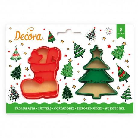 Kit de 2 emporte-pièces Sapin et Botte de Noël