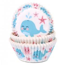 """50 caissettes à cupcakes """"Baleine"""""""