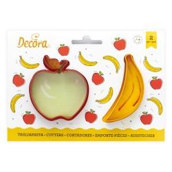 """2 emporte-pièces """"Pomme et banane"""""""