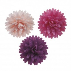 """Assortiment de 12 fleurs """"pompons"""" en azyme"""