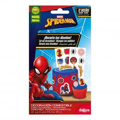 12 décorations comestibles en azyme Spiderman à découper