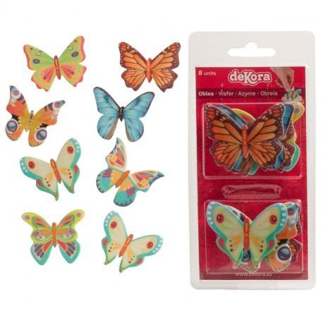 8 papillons multicolores en azyme