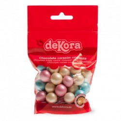 Sachet de boules de dragées au chocolat - Couleur : Jaune, rose et bleu pastels