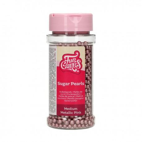 Billes en sucre métallisées rose
