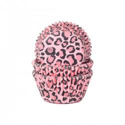 """50 caissettes à cupcakes """"léopard rose"""""""