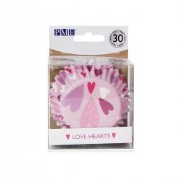 """30 caissettes à cupcakes en aluminium """"cœurs"""""""