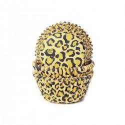 """50 caissettes à cupcakes """"léopard jaune"""""""