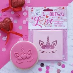 """Outboss™ pour pâte à sucre """"Licorne cœur"""" - Sweet Stamp"""