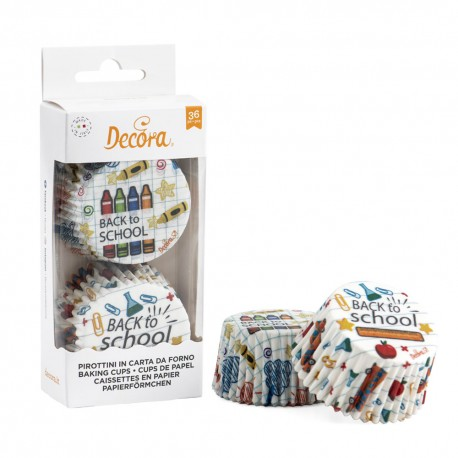 "36 caissettes à cupcakes standard ""Back to school"""