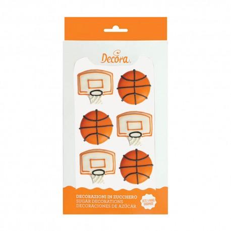 """Décorations en sucre """"Ballons et paniers de basketball"""""""