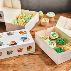 3 boîtes à cupcakes à fenêtre bleu 24x16cm