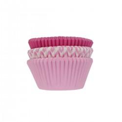 75 caissettes à cupcakes assorties roses
