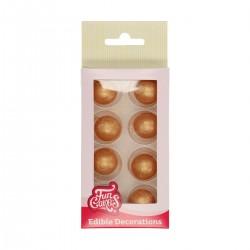 8 boules de dragées au chocolat - Couleur Or