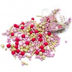 Perles et vermicelles - Rose et doré