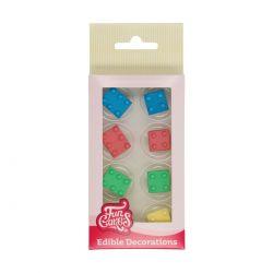 """8 décors en sucre """"Briques de construction"""""""