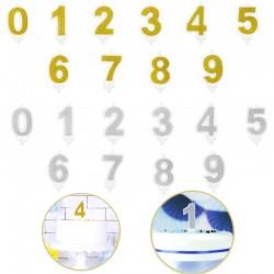 Bougie chiffre - Argentée ou dorée