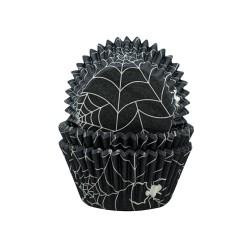 """75 caissettes à cupcakes standard noires """"Toiles d'araignée"""""""