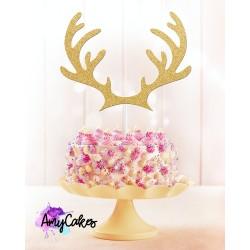 """Topper pour gâteau """"Bois de renne"""" - Doré"""