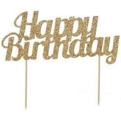 """Topper pour gâteau """"Happy Birthday"""" doré"""
