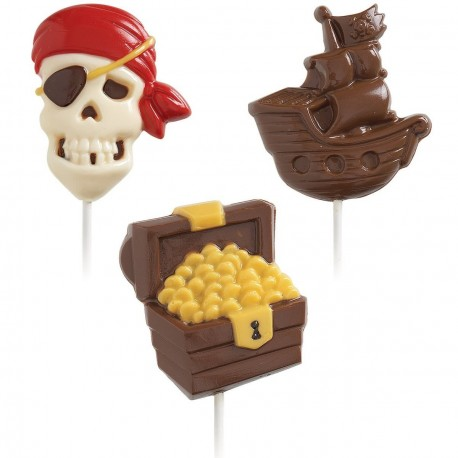 """Moule à sucettes en chocolat """"pirates"""""""