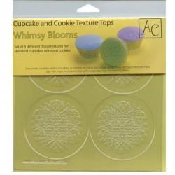 """3 feuilles de texture pour cupcakes et cookies """"floral"""""""