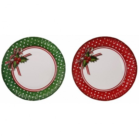 "8 assiettes en carton ""Jolly Holly"""