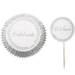 """24 caissettes et pics pour cupcakes argent """"Celebrate"""""""