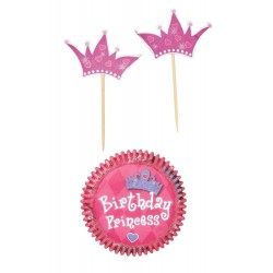 """24 caissettes et pics pour cupcakes """"Princesse"""""""
