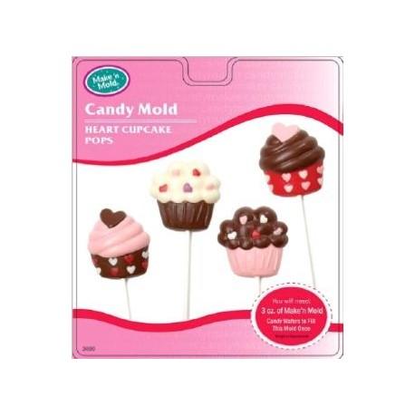 """Moule à sucettes """"cupcakes coeur"""""""