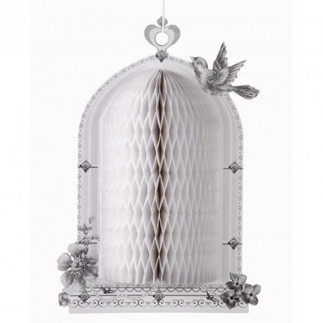 """Décoration nid d'abeille """"cage à oiseaux blanc"""""""