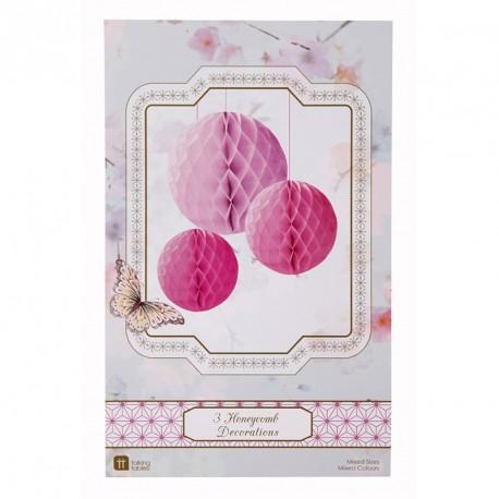 3 décorations nid d'abeille rond - rose
