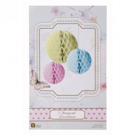 3 décorations nid d'abeille rond - pastel