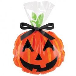 "12 sachets à bonbons et biscuits ""Jack-O-Lantern"""