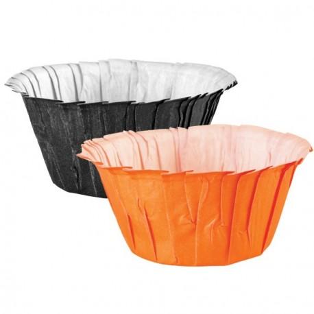 """24 caissettes à volants """"noir et orange"""""""