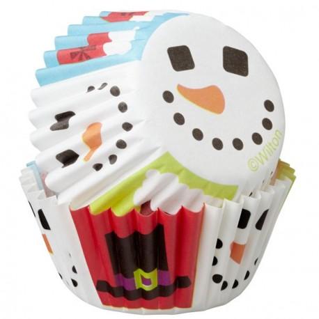 """100 Mini caissettes """"Bonhomme de neige"""""""