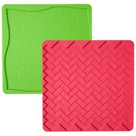 """2 tapis à texture en silicone """"herbe et brique"""""""
