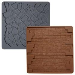 """2 tapis à texture en silicone """"pierre et parquet"""""""