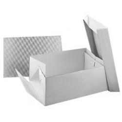 Boîte à gâteau blanche avec support rectangulaire 38,1x27,8cm