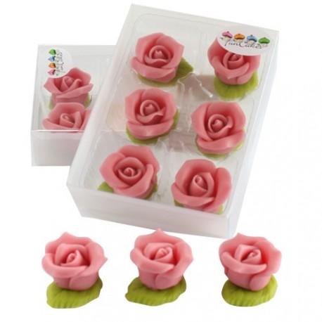 6 roses en pâte d'amande rose Funcakes