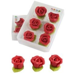 "6 roses en pâte d'amande ""rose"""